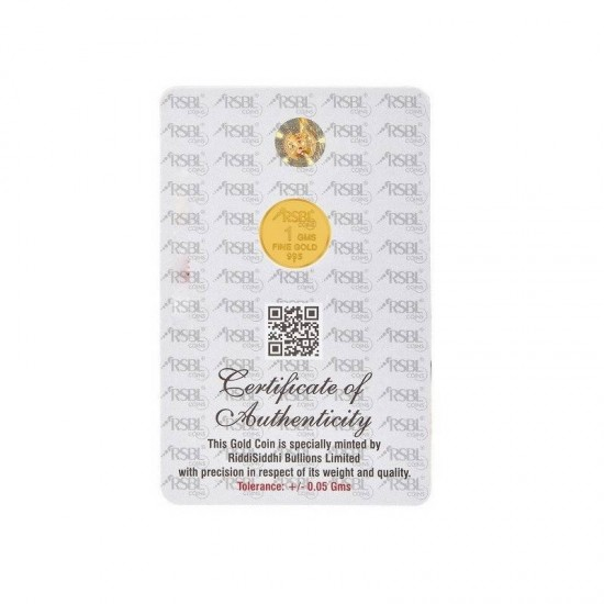 1 gram 24kt purity RSBL Gold Coin 995 fineness