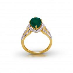 Gold Ring A.Diamond 2.65 gram Green Stone