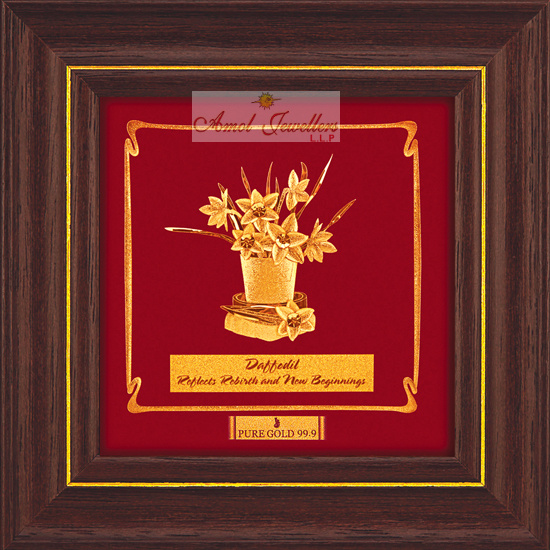 Pure 24 karat Golden Frame  A8 Daffodi Flower - Prima Art by Amol Jewellers LLP