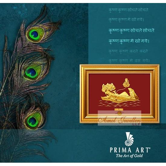 Pure 24 karat Golden Frame 2A7 Vishnu Laxmi with Brahma - Prima Art by Amol Jewellers LLP