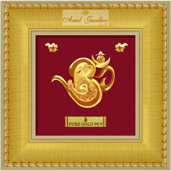 Pure 24 karat Golden Frame  Lord GaneshaPrima Art by Amol Jewellers LLP