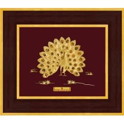 Pure 24 karat Golden Frame A7 Peacock Prima Art  by Amol Jewellers LLP