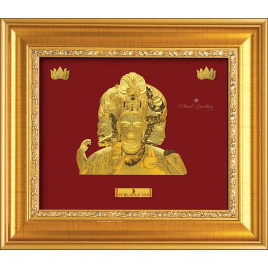 Pure 24 karat Golden Frame A7 Trimurti of Elephant Prima Art by Amol Jewellers LLP