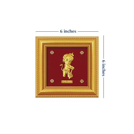 Pure 24 karat Golden Frame A8 Bal Hanuman - Prima Art by Amol Jewellers LLP