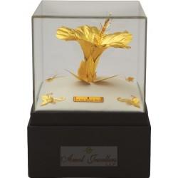 Pure 24 karat Golden Frame Golden Hibiscus Prima Art by Amol Jewellers LLP