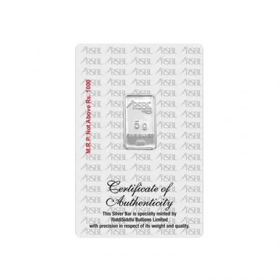 5 grams RSBL Silver Bar in 999 24kt Purity Fineness